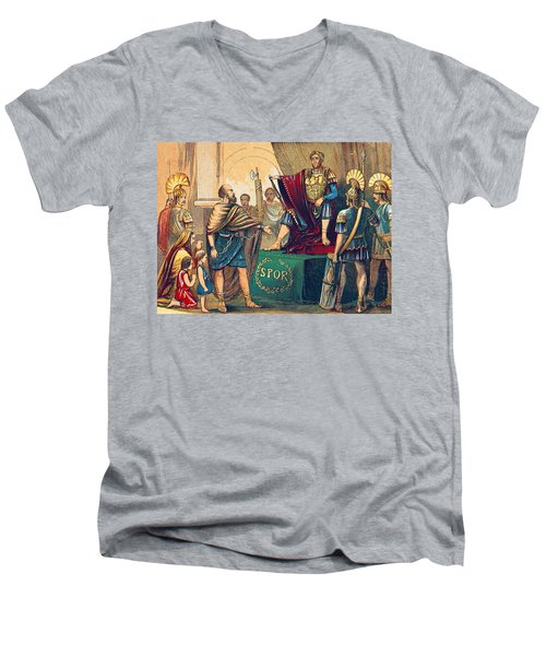 Men's V-Neck T-Shirt featuring the photograph Caractacus Before Emperor Claudius, 1st by British Library