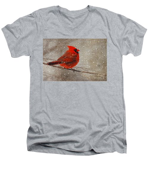 Cardinal In Snow Men's V-Neck T-Shirt by Lois Bryan