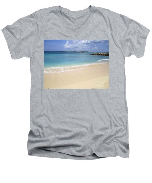 Men's V-Neck T-Shirt featuring the photograph Caribbean Beach Front by Fiona Kennard