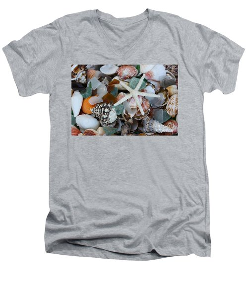 Caribbean Shells Men's V-Neck T-Shirt by The Art of Alice Terrill
