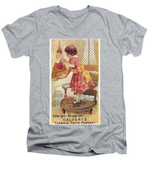Men's V-Neck T-Shirt featuring the photograph Carlvert's Carbolic Tooth Powder Ad by Gianfranco Weiss