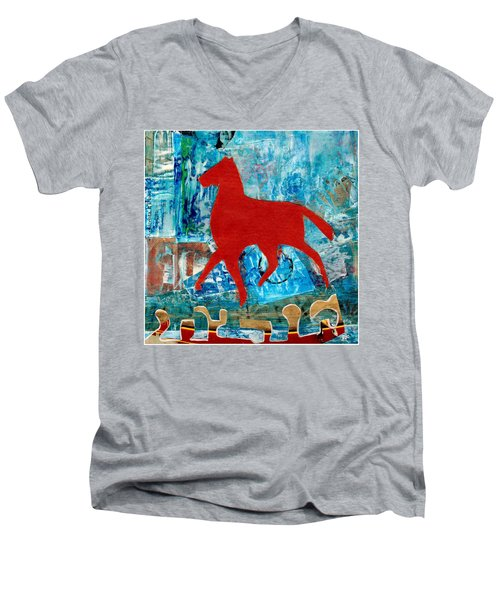 Carousel Men's V-Neck T-Shirt by Patricia Cleasby