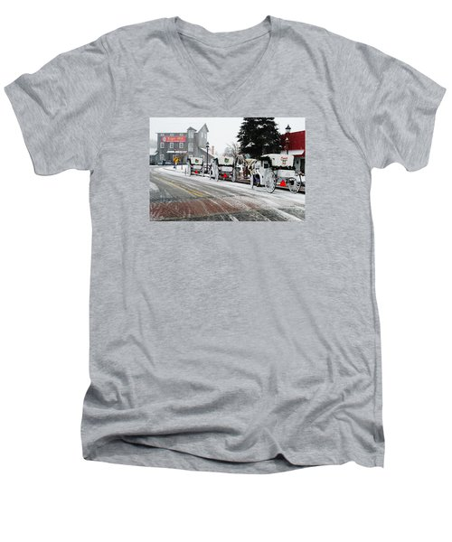 Carriage Ride Men's V-Neck T-Shirt by Janice Adomeit