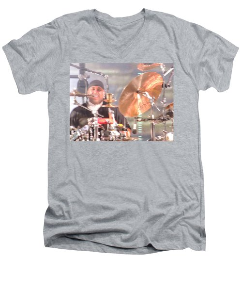 Men's V-Neck T-Shirt featuring the photograph Carter Doing What He Does Best by Aaron Martens
