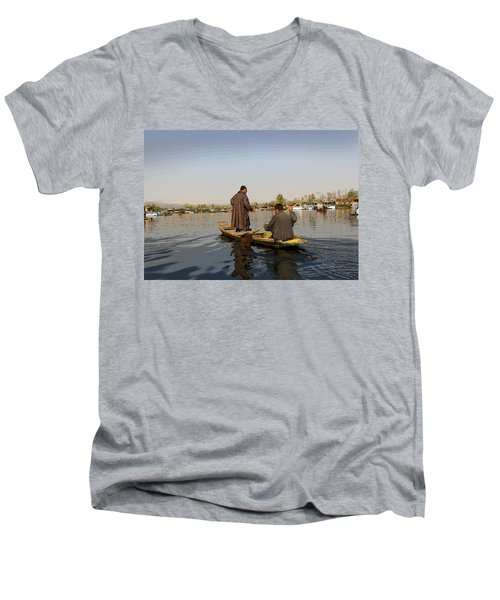 Cartoon - Kashmiri Men Plying A Wooden Boat In The Dal Lake In Srinagar Men's V-Neck T-Shirt