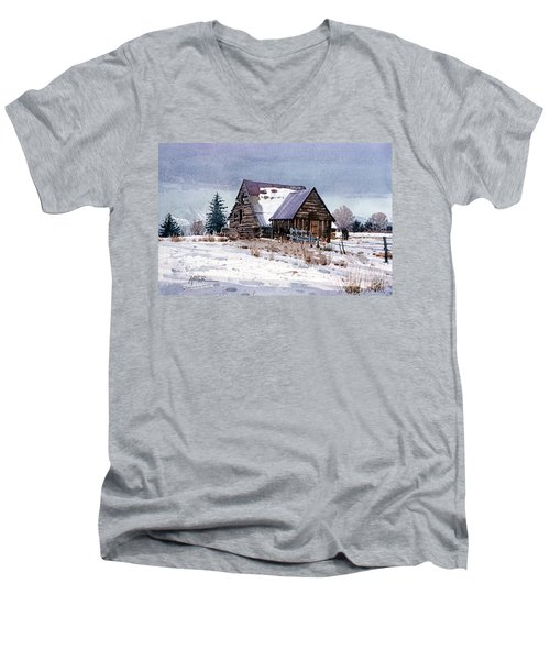 Men's V-Neck T-Shirt featuring the painting Cache Valley Barn by Donald Maier