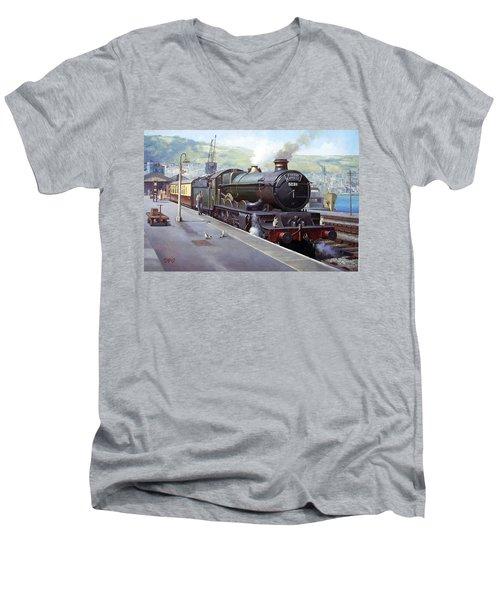 Castle At Kingswear 1957 Men's V-Neck T-Shirt