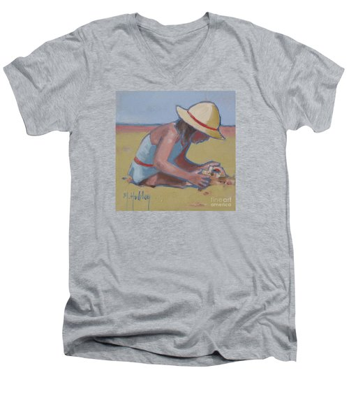 Castle Builder Beach Sand Castle Men's V-Neck T-Shirt by Mary Hubley