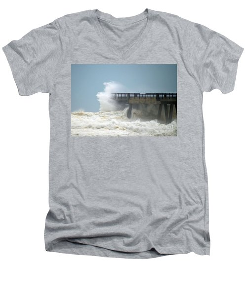 0828 Cat 1 Hurricane Isaac Crashes Into Navarre Beach Pier Men's V-Neck T-Shirt by Jeff at JSJ Photography