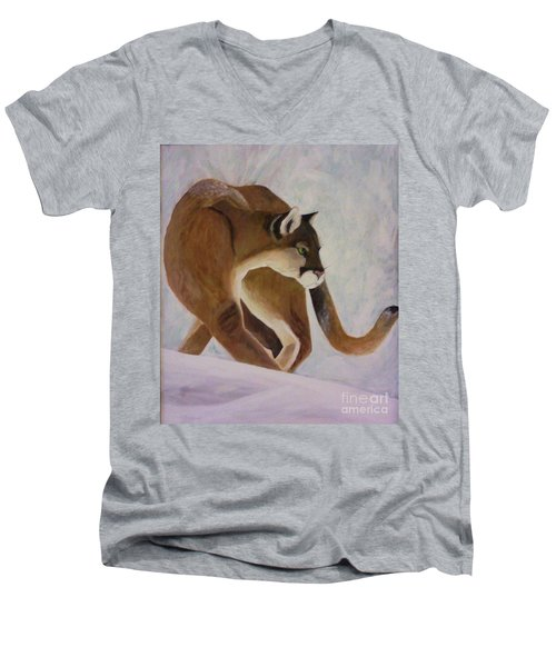 Men's V-Neck T-Shirt featuring the painting Cat In Snow by Christy Saunders Church
