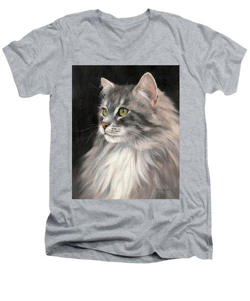 Cat Portrait Painting Men's V-Neck T-Shirt
