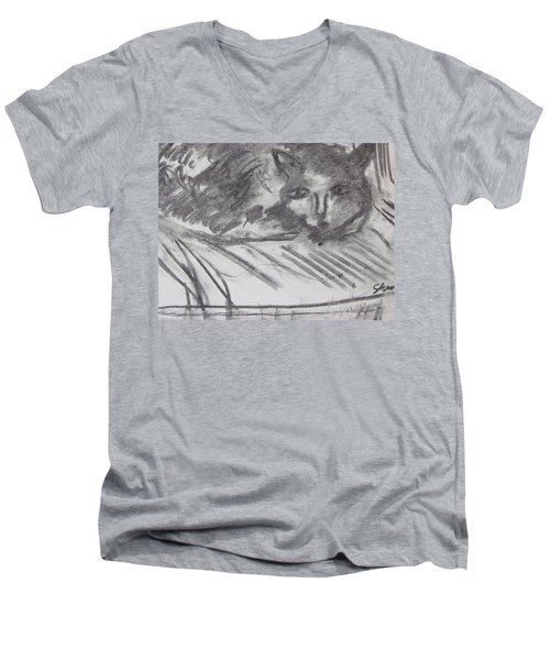 Cat Relaxing Men's V-Neck T-Shirt