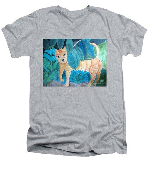 CAT Men's V-Neck T-Shirt by Sandy McIntire