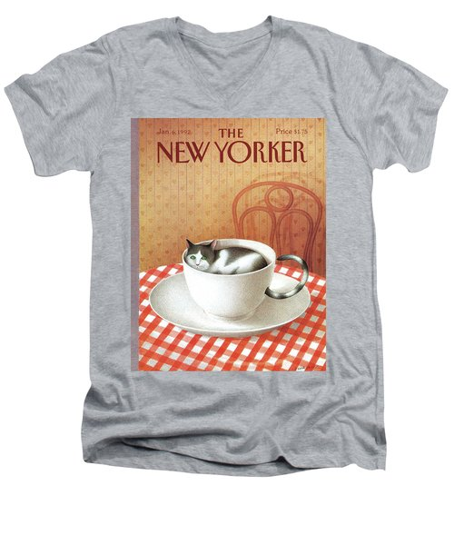 Cat Sits Inside A Coffee Cup Men's V-Neck T-Shirt
