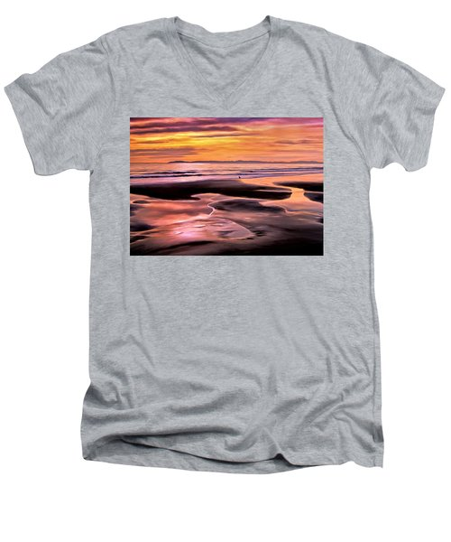 Catalina Sunset Men's V-Neck T-Shirt by Michael Pickett