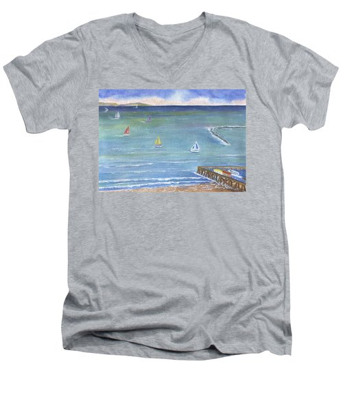 Catalina To Redondo Men's V-Neck T-Shirt by Jamie Frier