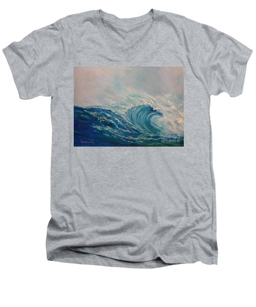 Men's V-Neck T-Shirt featuring the painting Wave 111 by Jenny Lee