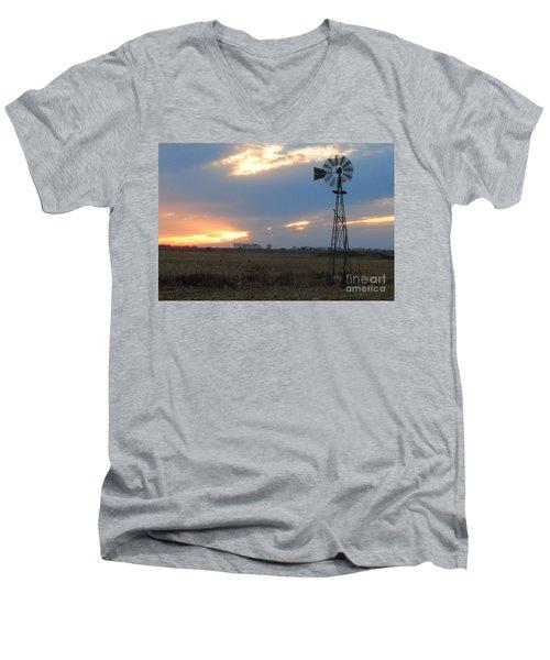 Catching The Wind In South Dakota Men's V-Neck T-Shirt by Mary Carol Story