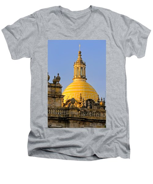 Men's V-Neck T-Shirt featuring the photograph Catedral De Guadalajara by David Perry Lawrence
