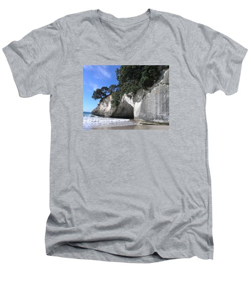 Men's V-Neck T-Shirt featuring the photograph Cathedral Cove by Christian Zesewitz