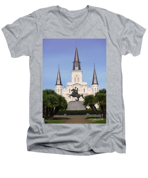 Men's V-Neck T-Shirt featuring the photograph Cathedral In Jackson Square by Alys Caviness-Gober