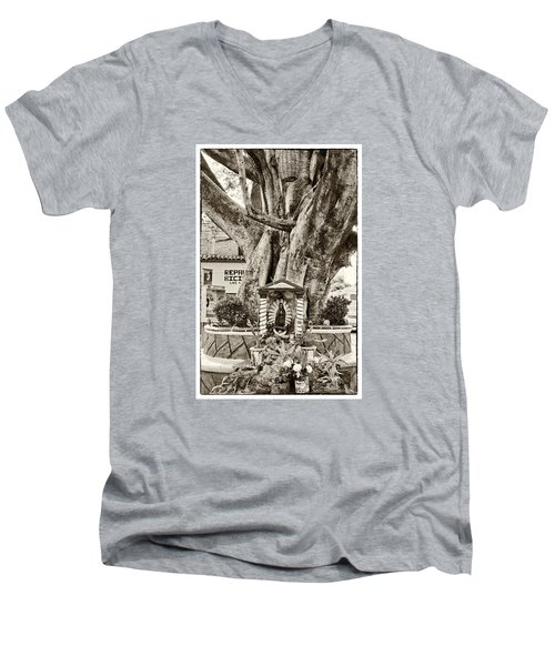 Men's V-Neck T-Shirt featuring the photograph Catholic Shrine - Our Lady Of Guadalupe, Mexico - Travel Photography By David Perry Lawrence by David Perry Lawrence