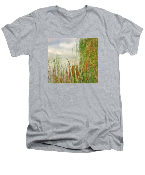 Men's V-Neck T-Shirt featuring the photograph Cattails by Marilyn Diaz