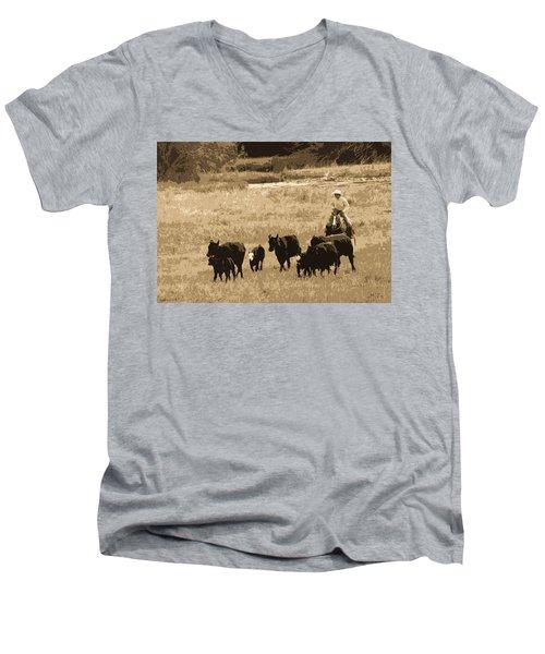 Cattle Round Up Sepia Men's V-Neck T-Shirt by Athena Mckinzie