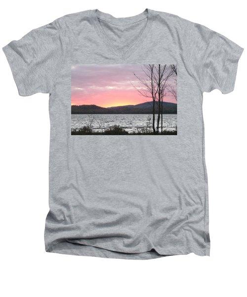 Caucomgomoc Lake Sunset In Maine Men's V-Neck T-Shirt
