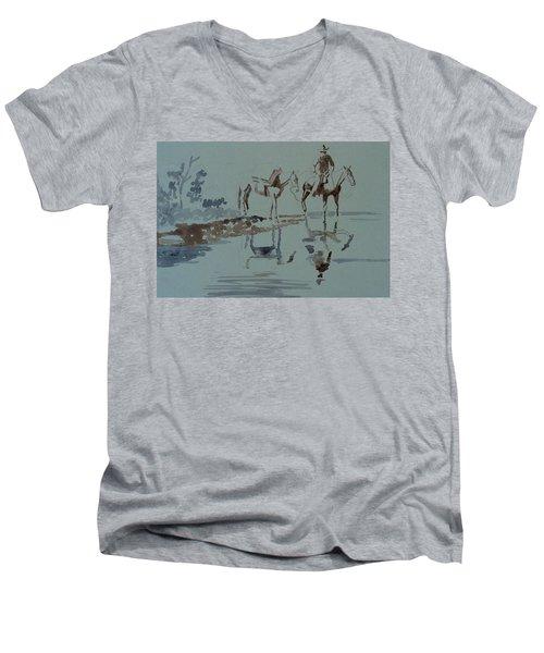 Cautious Creek Crossing Men's V-Neck T-Shirt