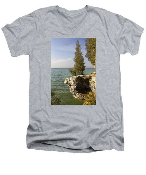 Cave Point - Signed Men's V-Neck T-Shirt by Barbara Smith