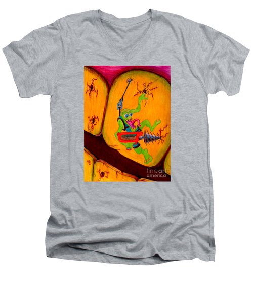 Men's V-Neck T-Shirt featuring the drawing Cavity Creep by Justin Moore