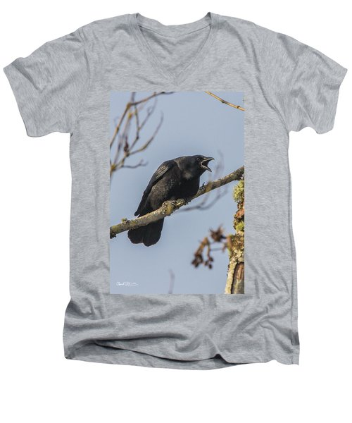 Caw Men's V-Neck T-Shirt by Charlie Duncan