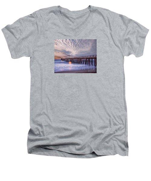 Cayucos Pier Men's V-Neck T-Shirt by Alice Cahill