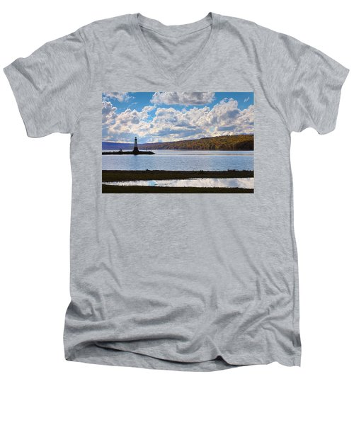 Men's V-Neck T-Shirt featuring the photograph Cayuga Lake In Colorful Fall Ithaca New York IIi by Paul Ge