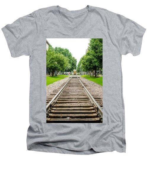 Cedar Rapids Train Coming Down The Tracks Men's V-Neck T-Shirt