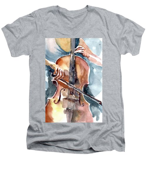 Cellist Men's V-Neck T-Shirt by Faruk Koksal