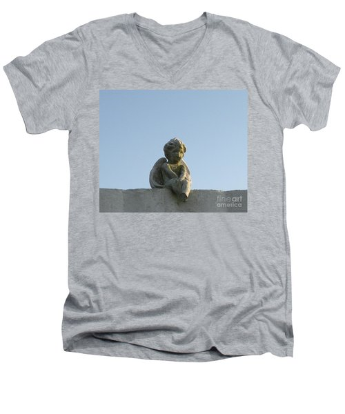 Cemetery Cherub Men's V-Neck T-Shirt by Joseph Baril