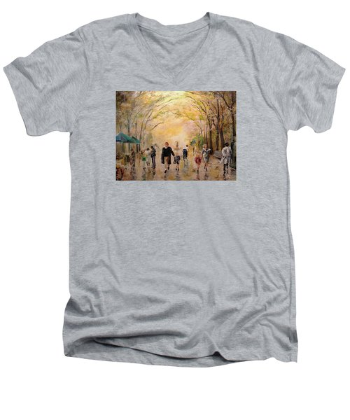 Men's V-Neck T-Shirt featuring the painting Central Park Early Spring by Alan Lakin