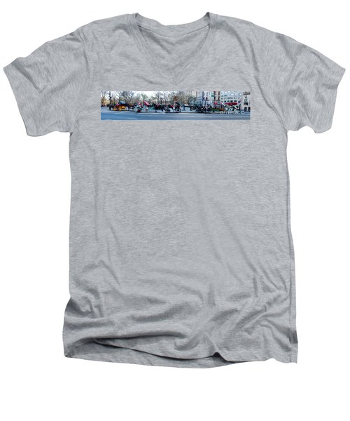 Central Park Horse Carriage Station Panorama Men's V-Neck T-Shirt