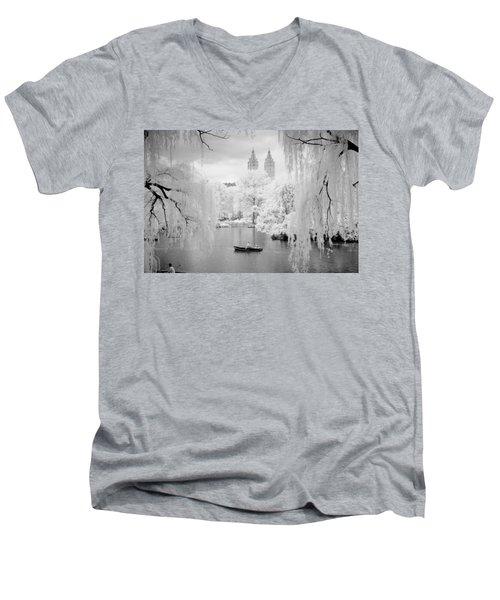 Central Park Lake-infrared Willows Men's V-Neck T-Shirt