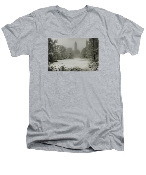 Men's V-Neck T-Shirt featuring the photograph Central Park Snowstorm by Chris Lord