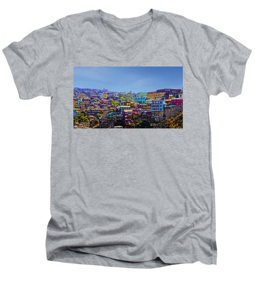Cerro Artilleria Valparaiso Chile Men's V-Neck T-Shirt