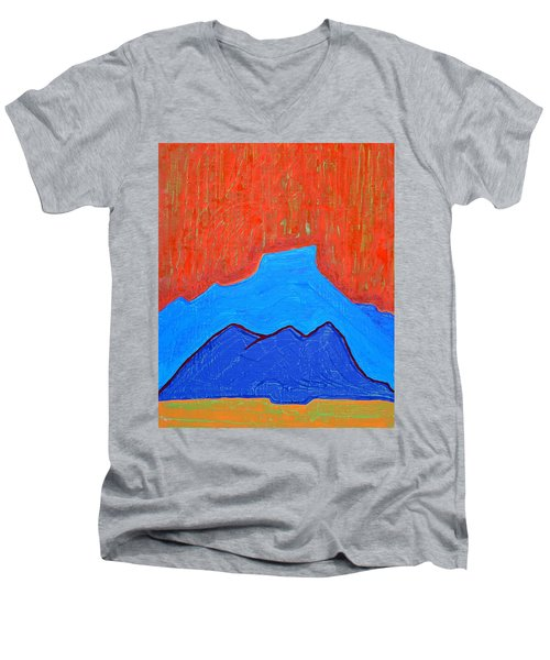 Cerro Pedernal Original Painting Sold Men's V-Neck T-Shirt by Sol Luckman