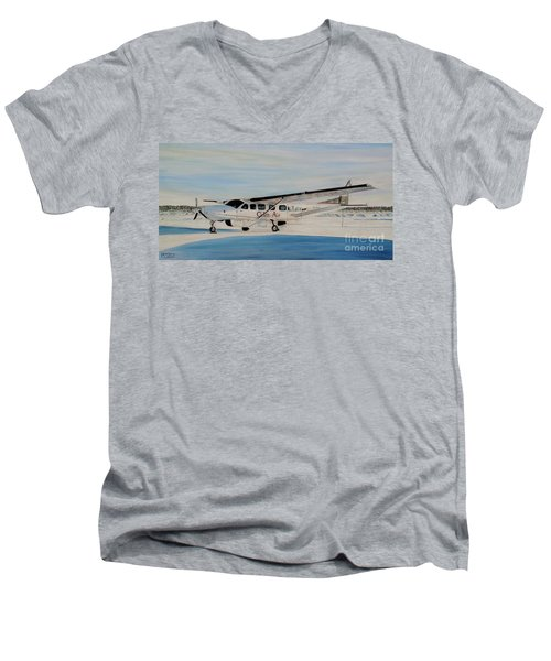 Men's V-Neck T-Shirt featuring the painting Cessna 208 Caravan by Marilyn  McNish