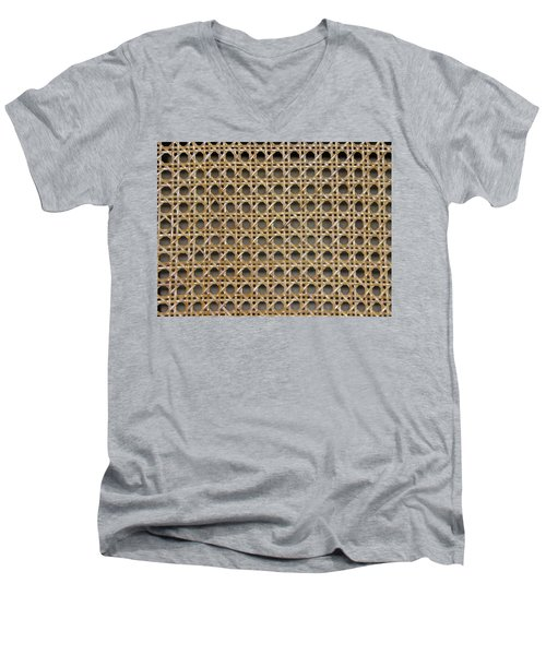 Men's V-Neck T-Shirt featuring the photograph Chair Caning  by Sherman Perry