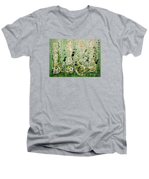 Men's V-Neck T-Shirt featuring the painting Champagne Symphony by Holly Carmichael