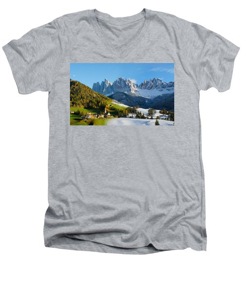 Change Of Season With Fall Turning Into Winter Men's V-Neck T-Shirt