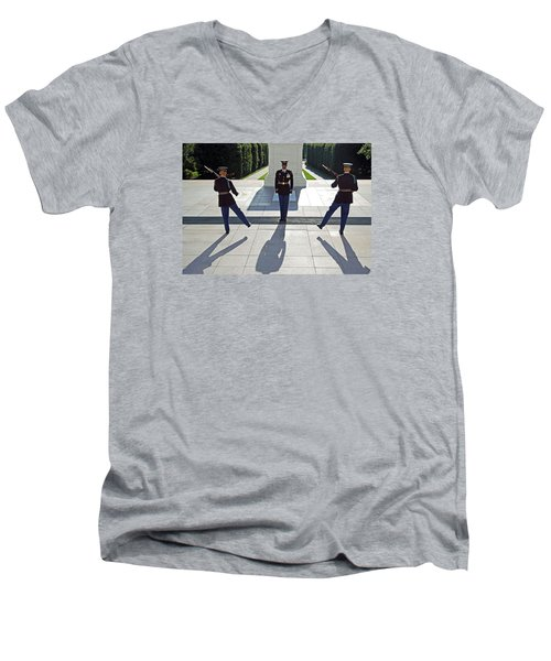 Men's V-Neck T-Shirt featuring the photograph Changing Of The Guard by Cora Wandel
