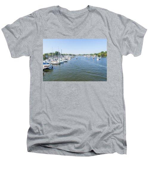 Channel Down Spa Creek Men's V-Neck T-Shirt by Charles Kraus